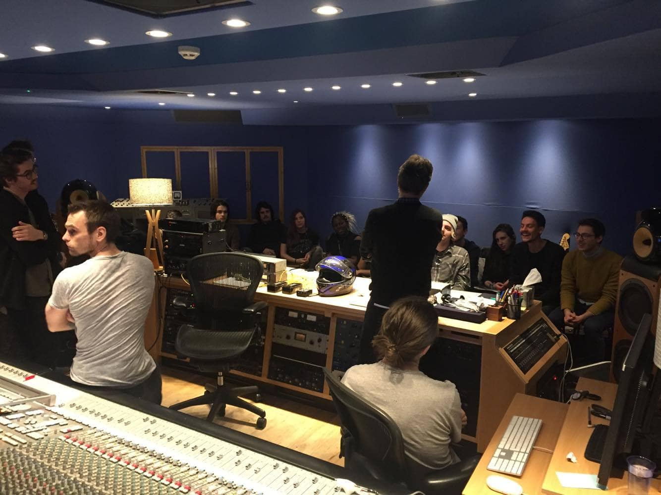 Our students in the control room with Carlos Lellis and Abbey Road Studio Engineer Stefano Civetta