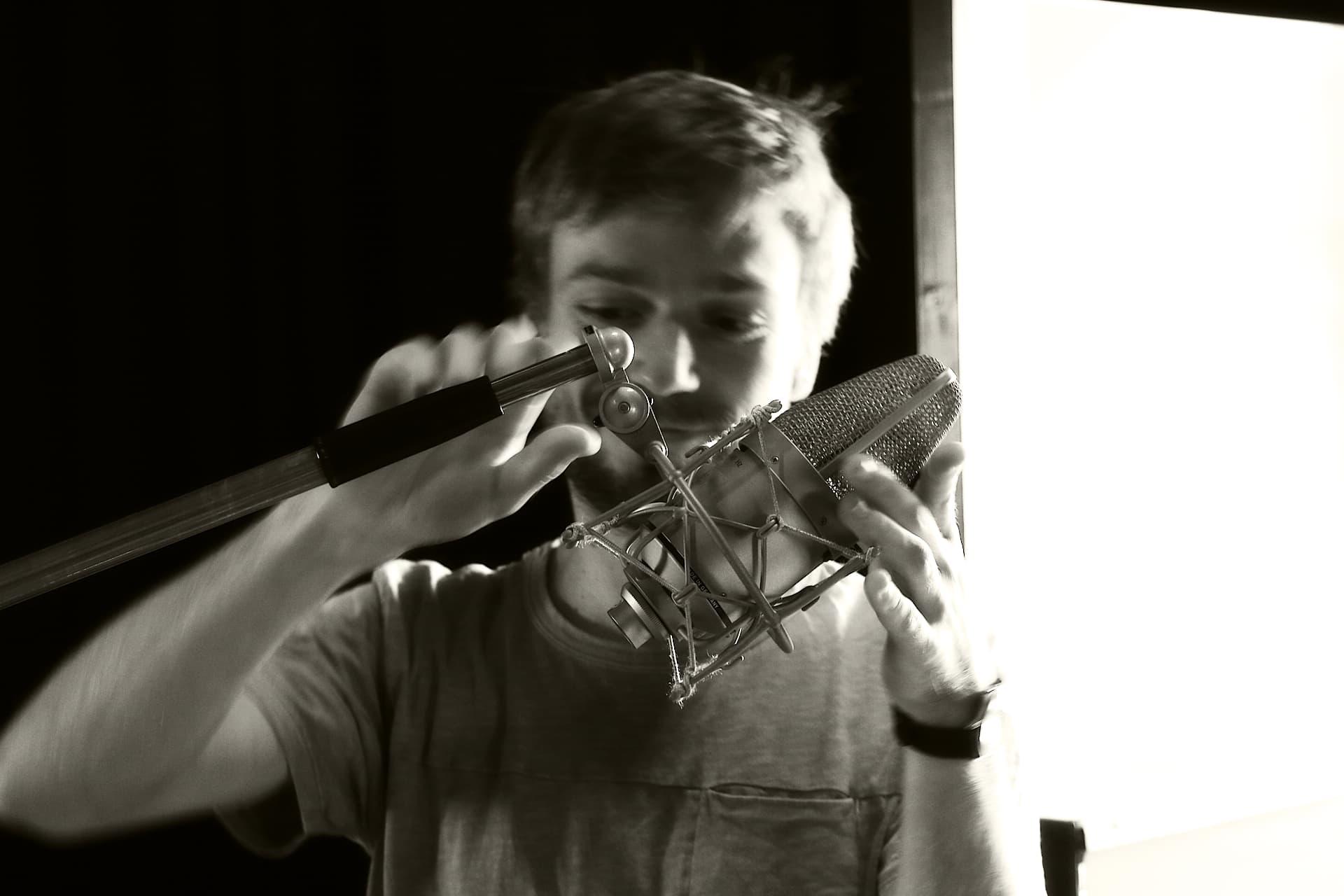 Engineer Dieter Boels with a Microphone