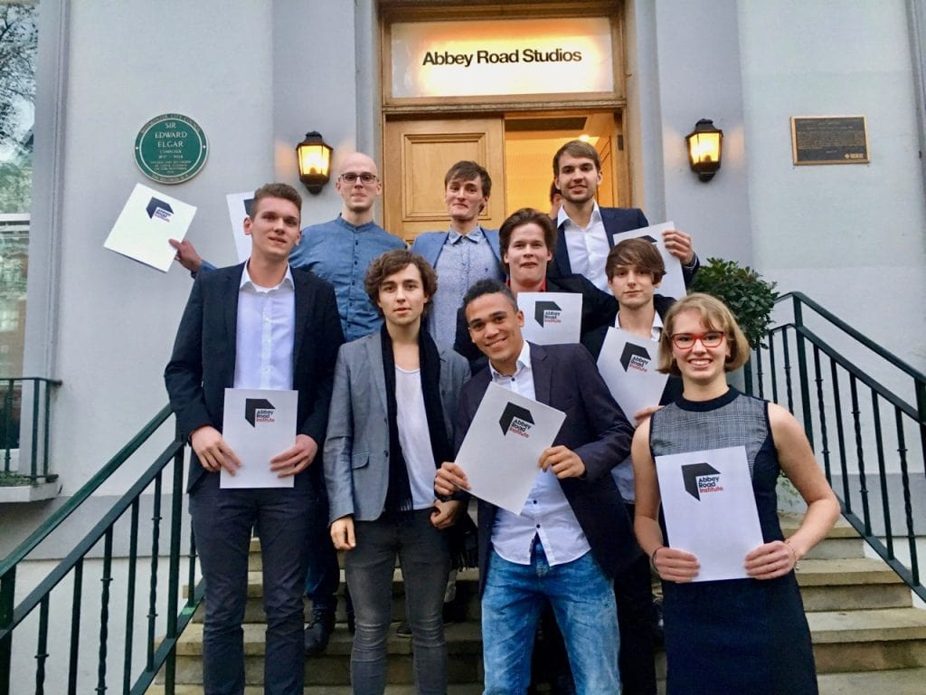A group of graduates from Frankfurt on the stairs of Abbey Road Studios