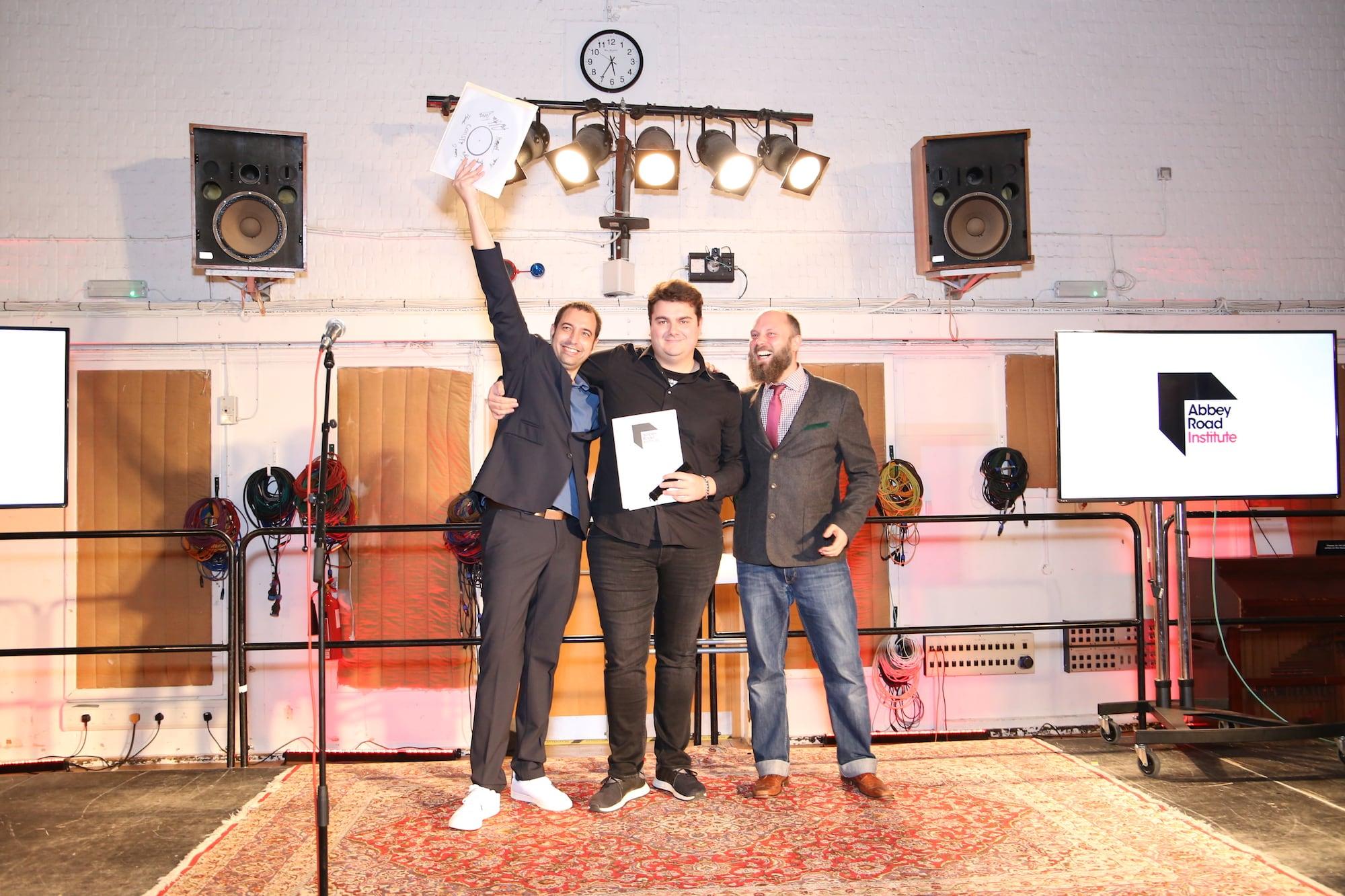 Berlin student receiving his diploma at Abbey Road Studios