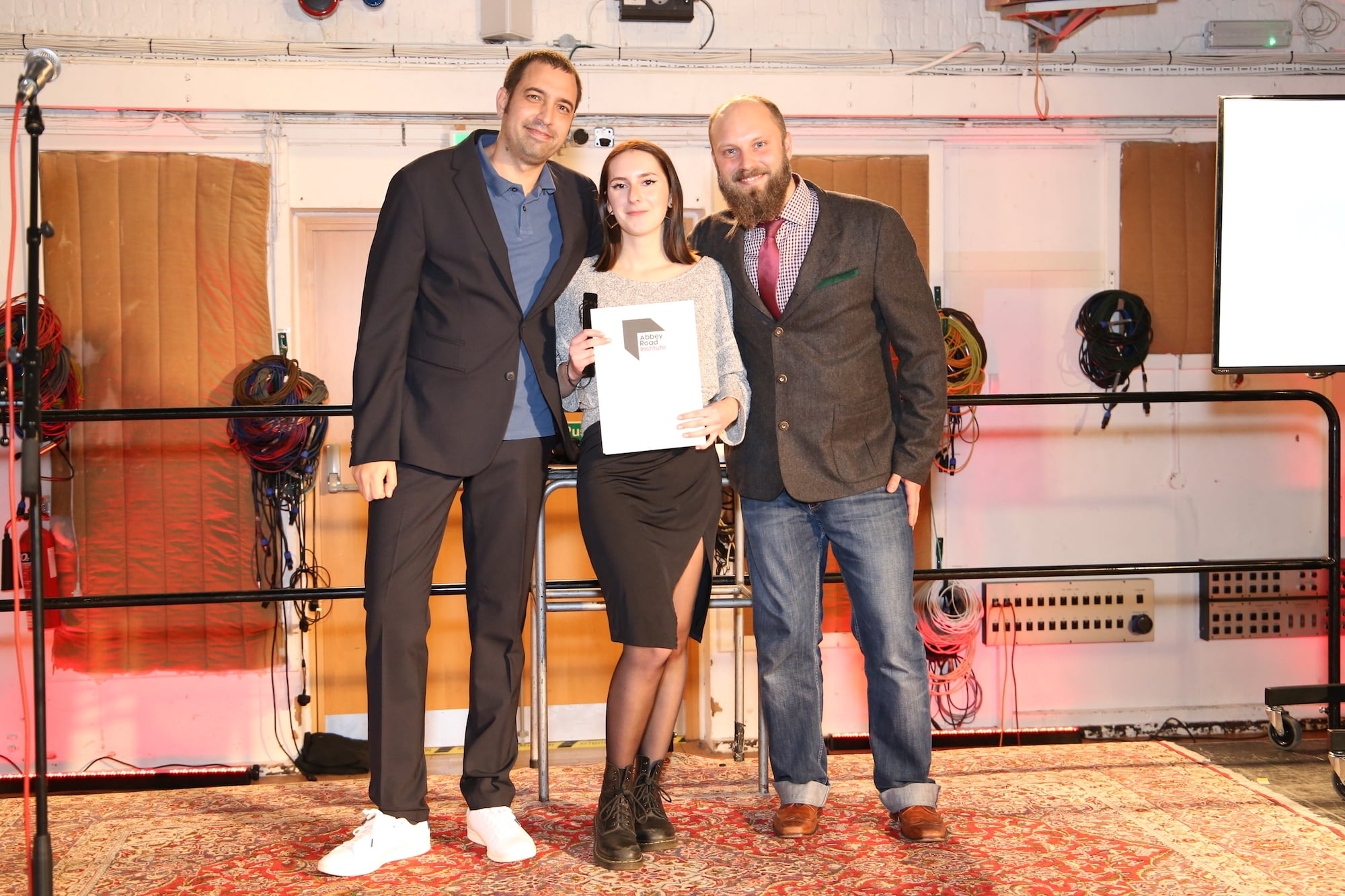 Berlin student receiving her diploma at Abbey Road Studios